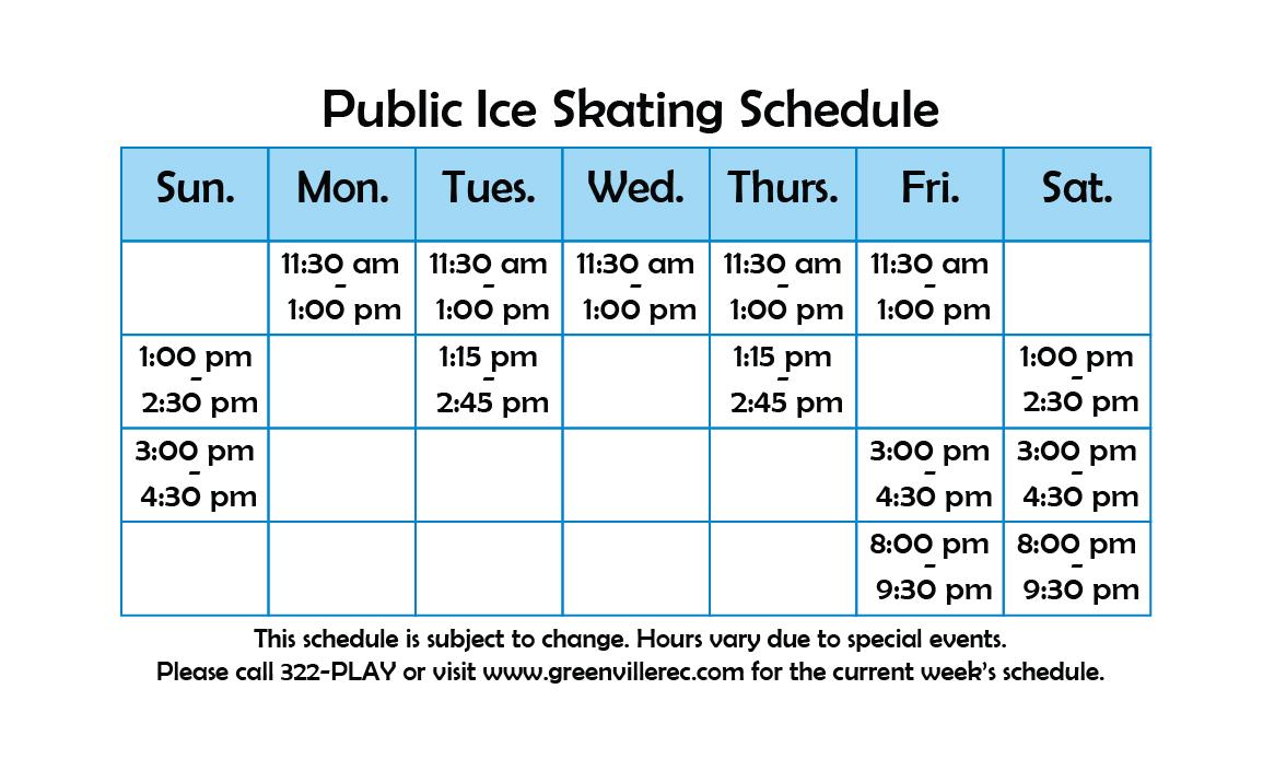Public Skate Schedule
